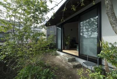 主庭 (アレルギー反応を持つ子供が住むための和モダン住宅/美しい空気の家)