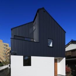 シンプルな顔にもデザイン性を重視した家。 (外観)