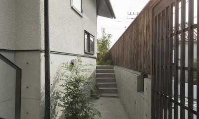玄関アプローチ|アレルギー反応を持つ子供が住むための和モダン住宅/美しい空気の家