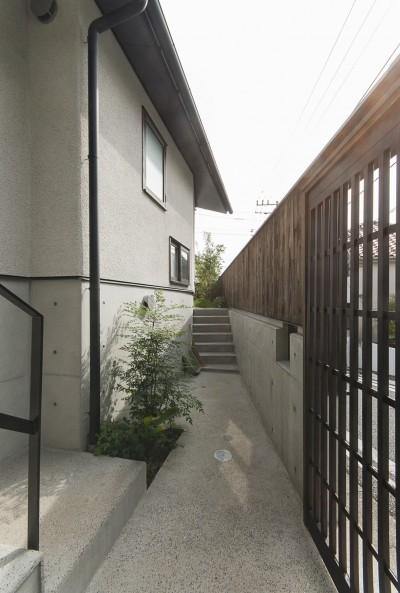 玄関アプローチ (アレルギー反応を持つ子供が住むための和モダン住宅/美しい空気の家)
