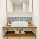 モルタル仕上げの壁がアクセントの写真 洗面室