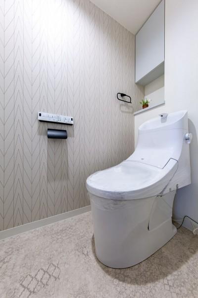 トイレ (モルタル仕上げの壁がアクセント)