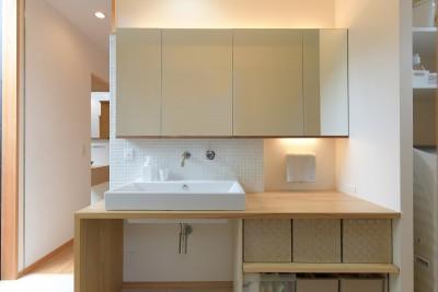 明るい洗面室 (埼玉県北鴻巣の家)