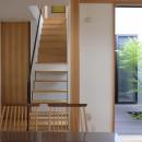 埼玉県北鴻巣の家の写真 ダイニングから階段と中庭をみる