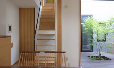 埼玉県北鴻巣の家 (ダイニングから階段と中庭をみる)