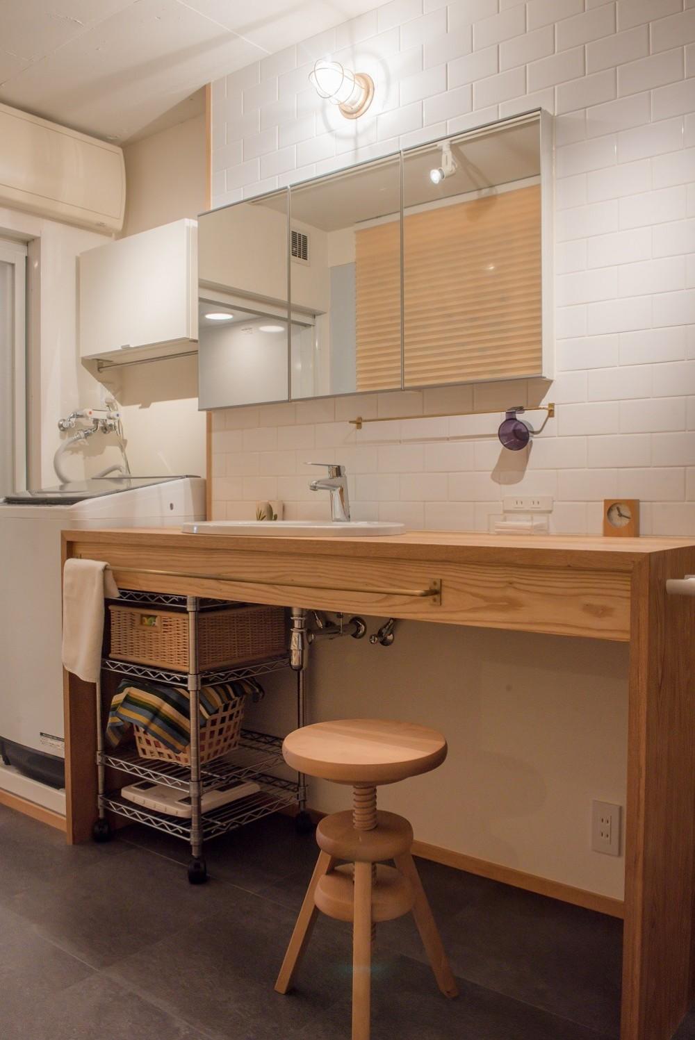 習志野市Fさんの家 (木製の洗面台)