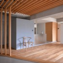 調布市のWさんの家の写真 壁際に水回りが並ぶ。グレーの箱はトイレ。奥の木目の箱は洗面室とバスルーム。