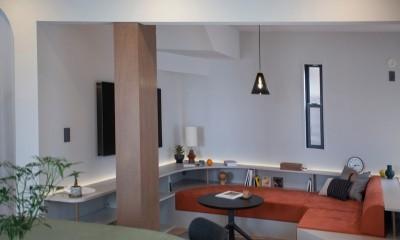 mellow lounge-家具を含めてトータルでコーディネート。エリアを絞った一戸建てリノベーション (リビング)