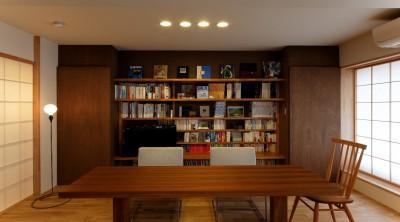 収納の仕方を工夫してデスクやTVボードを兼ねた魅せる本棚にデザイン (平屋の居心地をマンションリノベーションで)