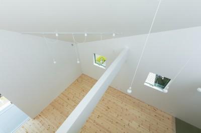 ルーフテラスより3階子供室を見る (長居東の住宅 / House in Nagai-higashi)