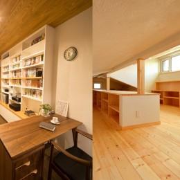 光熱費ゼロを目指す!人にも環境にもやさしいパッシブハウスの新築 (書斎(左)と明るい屋根裏ロフト(右))