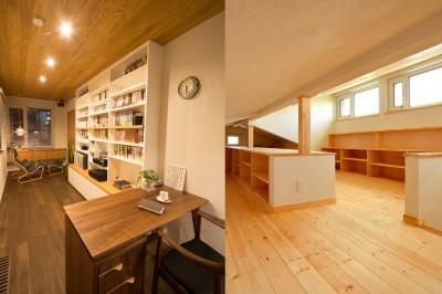 書斎(左)と明るい屋根裏ロフト(右) (光熱費ゼロを目指す!人にも環境にもやさしいパッシブハウスの新築)