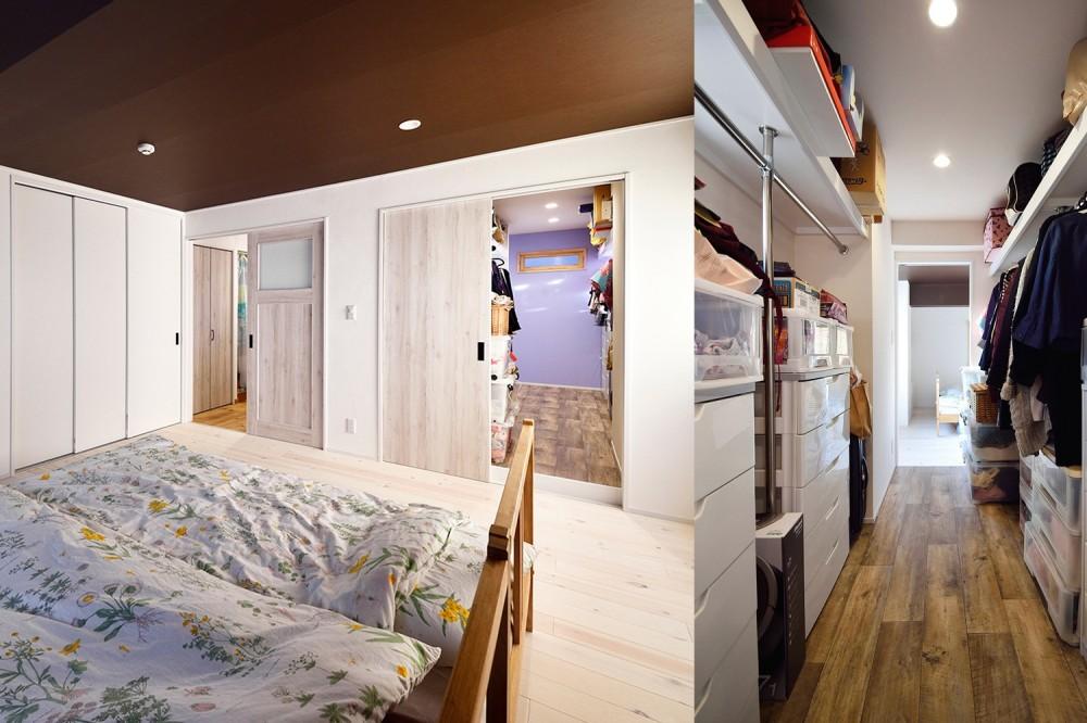 4LDKから2LDKリフォームでのびのび楽しく過ごせる家に (白を基調にした優しい色合いの寝室)