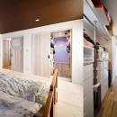 4LDKから2LDKリフォームでのびのび楽しく過ごせる家にの写真 白を基調にした優しい色合いの寝室