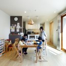 中庭のある無垢な珪藻土の家 – 共働き世帯の家事効率を練りに練ったプラン –の写真 ダイニングとキッチン