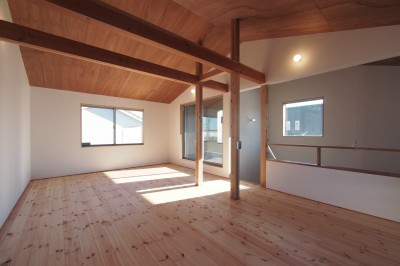 2階 子供部屋 /将来間仕切り (橋本の住宅 / 土間と縁側)