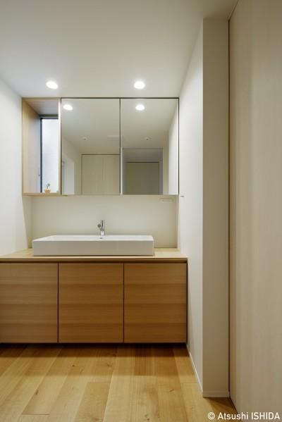 洗面脱衣室 (周囲に閉じて内部に開く傾斜地の家)