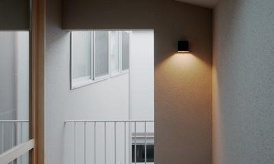 都心の住宅密集地にたつ二世帯住宅 (テラス)