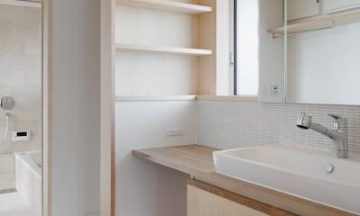 6つのテラスとつながる開放的な家 (洗面スペース)