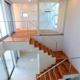 国分中央の住宅 (玄関吹抜け部ロフトより階段を見下ろす)