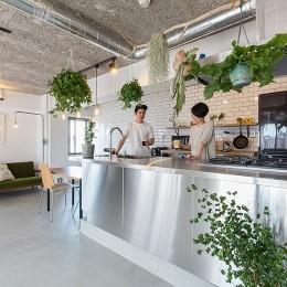 無機質な空間に映えるグリーン。モルタル床の家