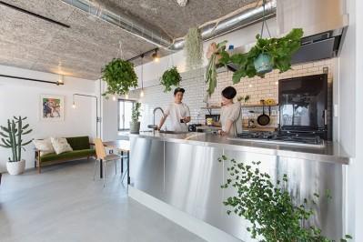 無機質な空間に映えるグリーン。モルタル床の家 (ご夫婦お気に入りのキッチン)