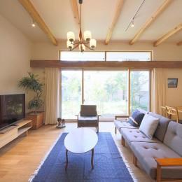 雑木林の庭を取り込む家・RED & GREEN HOUSE (リビングダイニング)