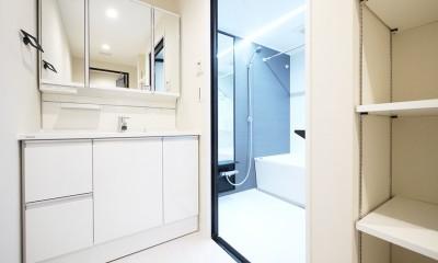 羽目板天井のキッチン空間 (洗面・バスルーム)