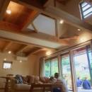 さくら 〜薪ストーブのある木の家〜の写真 リビングダイニング+吹抜+ウッドデッキ