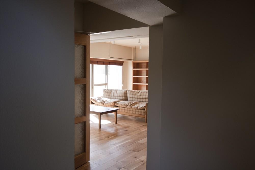 玄関からリビングを見る (AShouse 所蔵する本の数が多い家族のマンションのリノベーション)