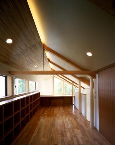 子ども室 (【丘を望む家 】 谷を超えて眺望が広がる急斜面に建つ家)
