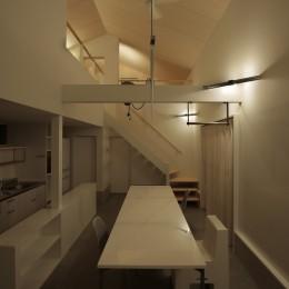 篠山市の小さな家 (LDK 夜景)