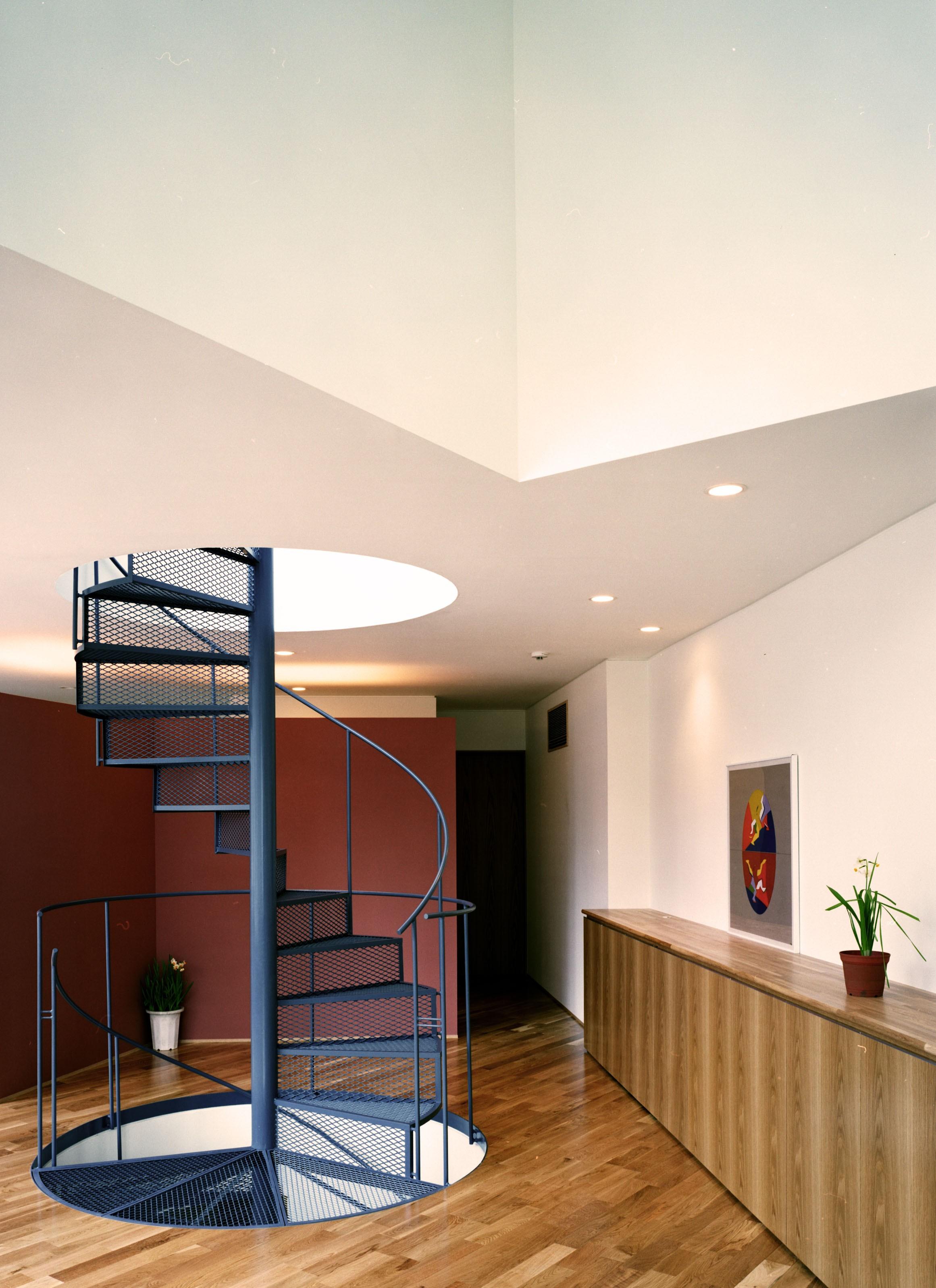 リビングダイニング事例:らせん階段(Y字路-道筋に建つ家)