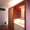 Y字路-道筋に建つ家の写真 洗面スペース