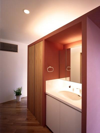 洗面スペース (Y字路-道筋に建つ家)