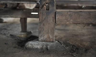 愛知の茅葺き再生[工事中] (玉石基礎の上に立つ柱)