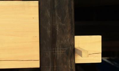 愛知の茅葺き再生[工事中] (既存の柱に合わせて修復する)