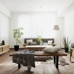 「中古マンション」のイメージを覆す天然無垢材のリビング~R様邸~ (LDK全体)
