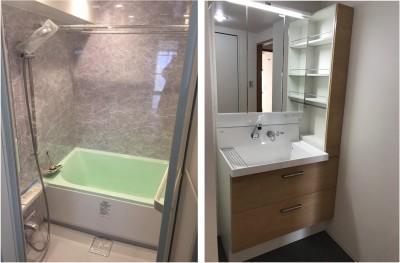 バスルームと洗面室 (シミュレーションを重ねて吟味した「時間を有効に使える家」~F様邸~)