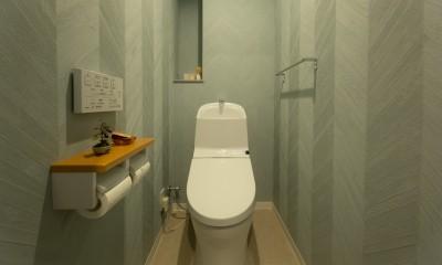 ヘリンボーンの廊下とステンレスキッチン (トイレ)
