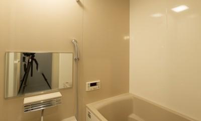 ヘリンボーンの廊下とステンレスキッチン (バスルーム)