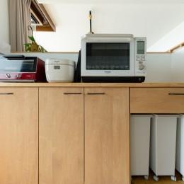 家族が自然と集うLDKの家 (キッチン背面収納)