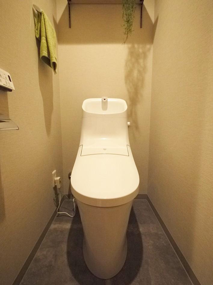 折り上げ天井と間接照明のリビング (トイレ)
