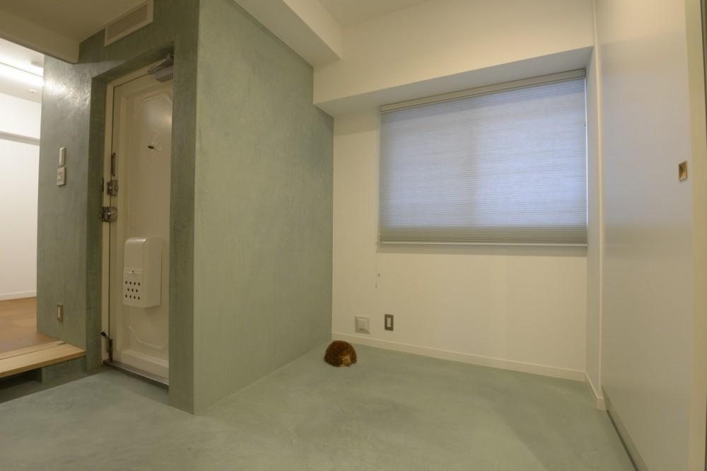 第二の人生を夫婦で楽しむ光と風が通り抜けるマンションのスケルトンリフォーム (マンションの広い玄関土間)