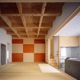 椿庵 ― 茶室のある旗竿敷地の住宅 ― (1階中央の8畳間)