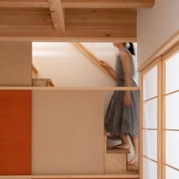 椿庵 ― 茶室のある旗竿敷地の住宅 ― (8畳間と階段)