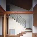 【二つ棟の家】  寄り添う2つの三角形の写真 リビングと階段