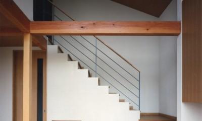 【二つ棟の家】  寄り添う2つの三角形 (リビングと階段)