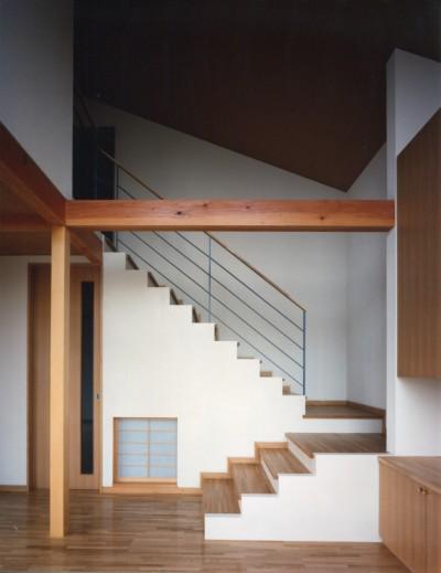 リビングと階段 (【二つ棟の家】  寄り添う2つの三角形)