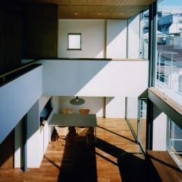 【大崎の家】    崖に囲まれた中、吹抜空間で心を解き放つ (2階から見下ろす)